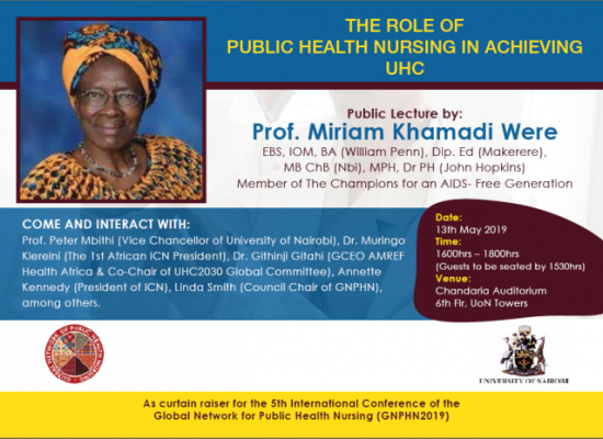 A public lecture by Prof. Miriam Khamadi Were on the 'Role of Public Health Nursing in Achieving UHC'