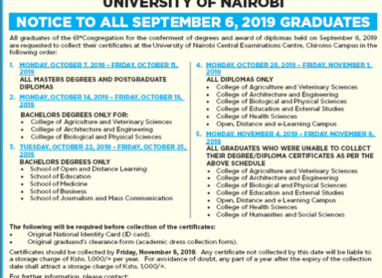 Notice to all September 6, 2019 graduates (Collection of certificates)