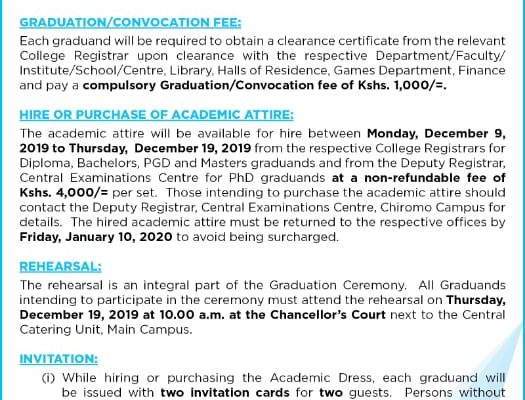 62nd Graduation Ceremony Notice