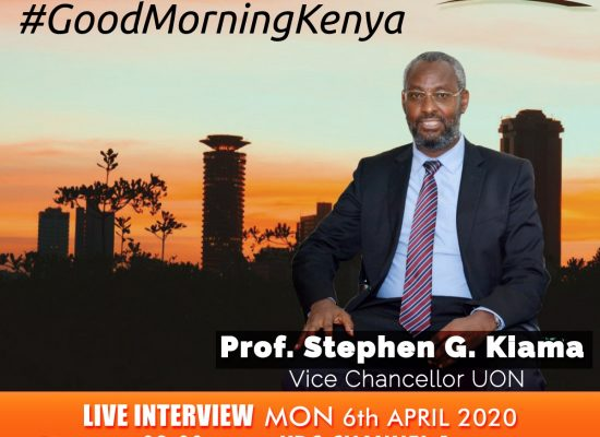 Tune in for this live interview with the Vice Chancellor, UoN on Monday April 6, 2020 from 8.00am