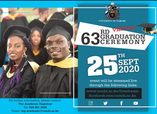 UoN to host the 63rd Graduation Ceremony Virtually on Friday, September 25